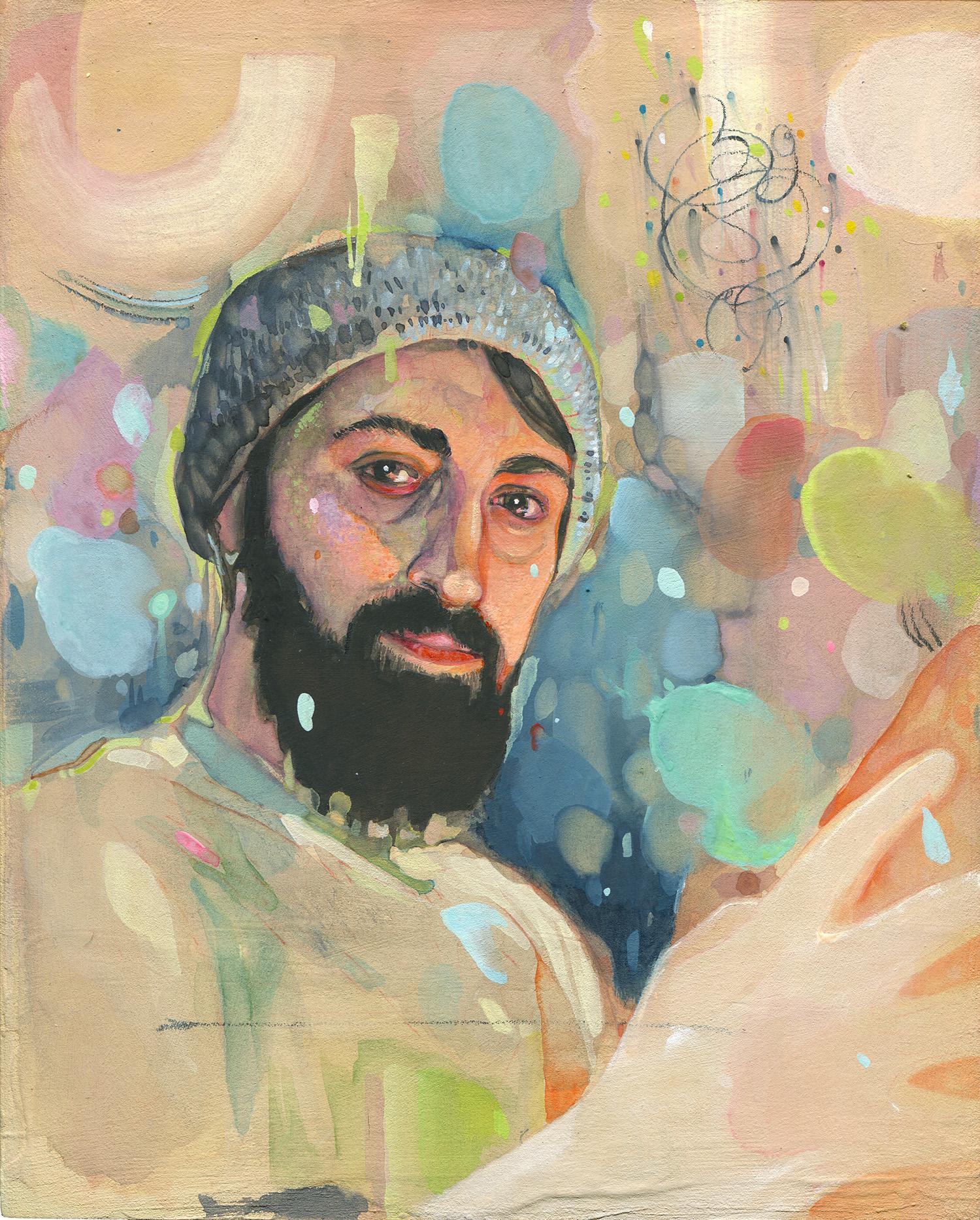 """Self Portrait - watercolor + gouache on panel - 8""""x10"""""""