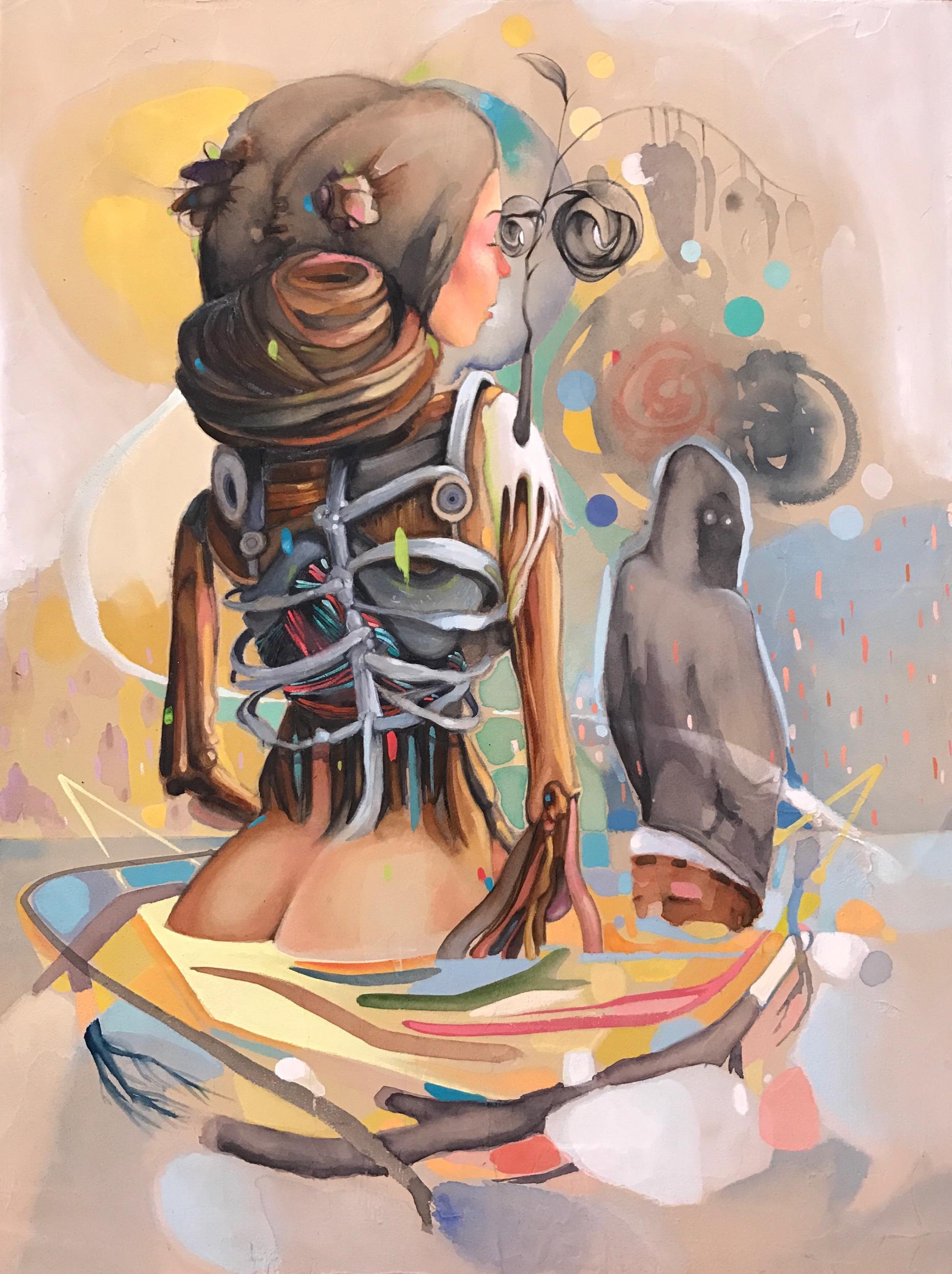 "imperceptible - watercolor + gouache - 12""x16"""