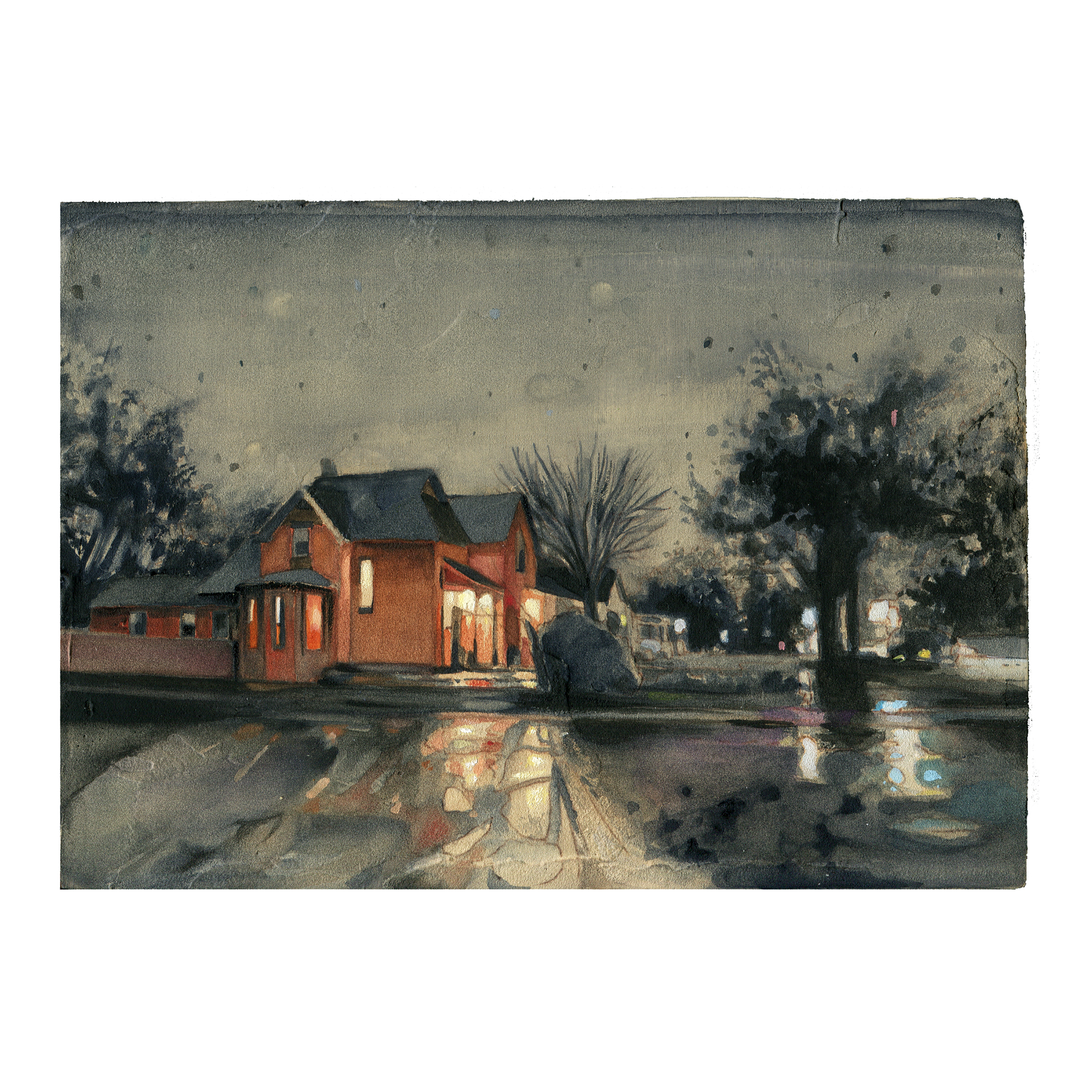 """Pueblo junction after a rain shower - watercolor + gouache on panel - 5""""x7"""""""