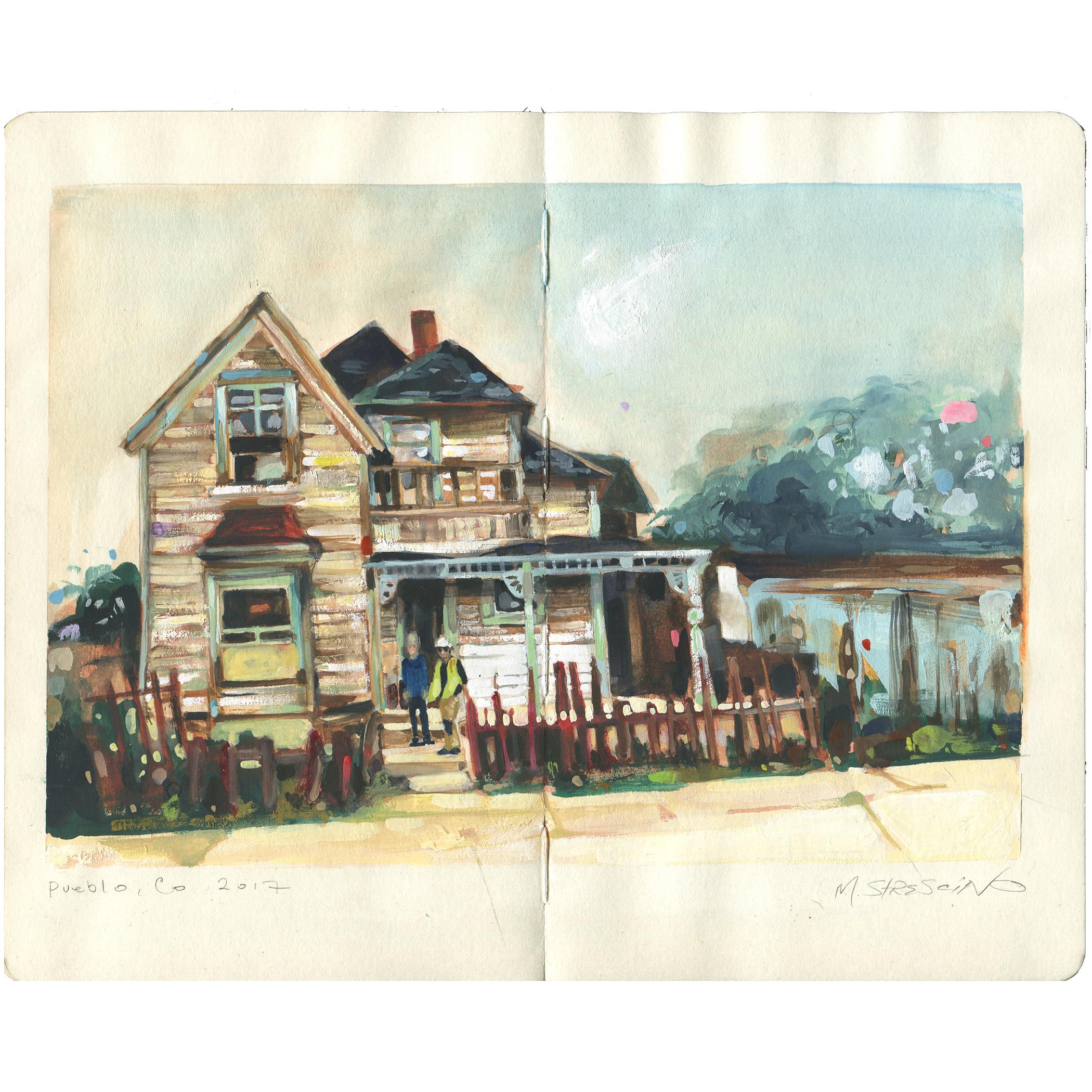 Condemned house, west side Pueblo, colorado (since demolished) - watercolor + gouache on moleskine