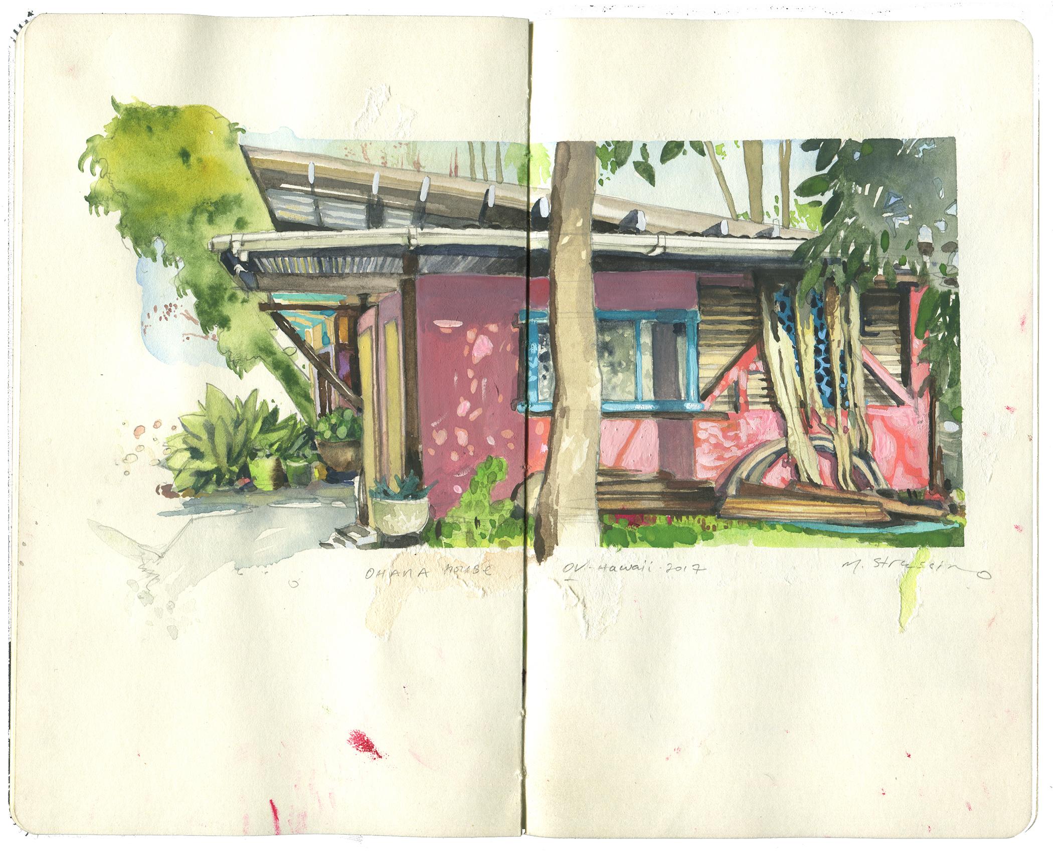 Ohana house, ka'u big island, Hawaii - watercolor + gouache on moleskine