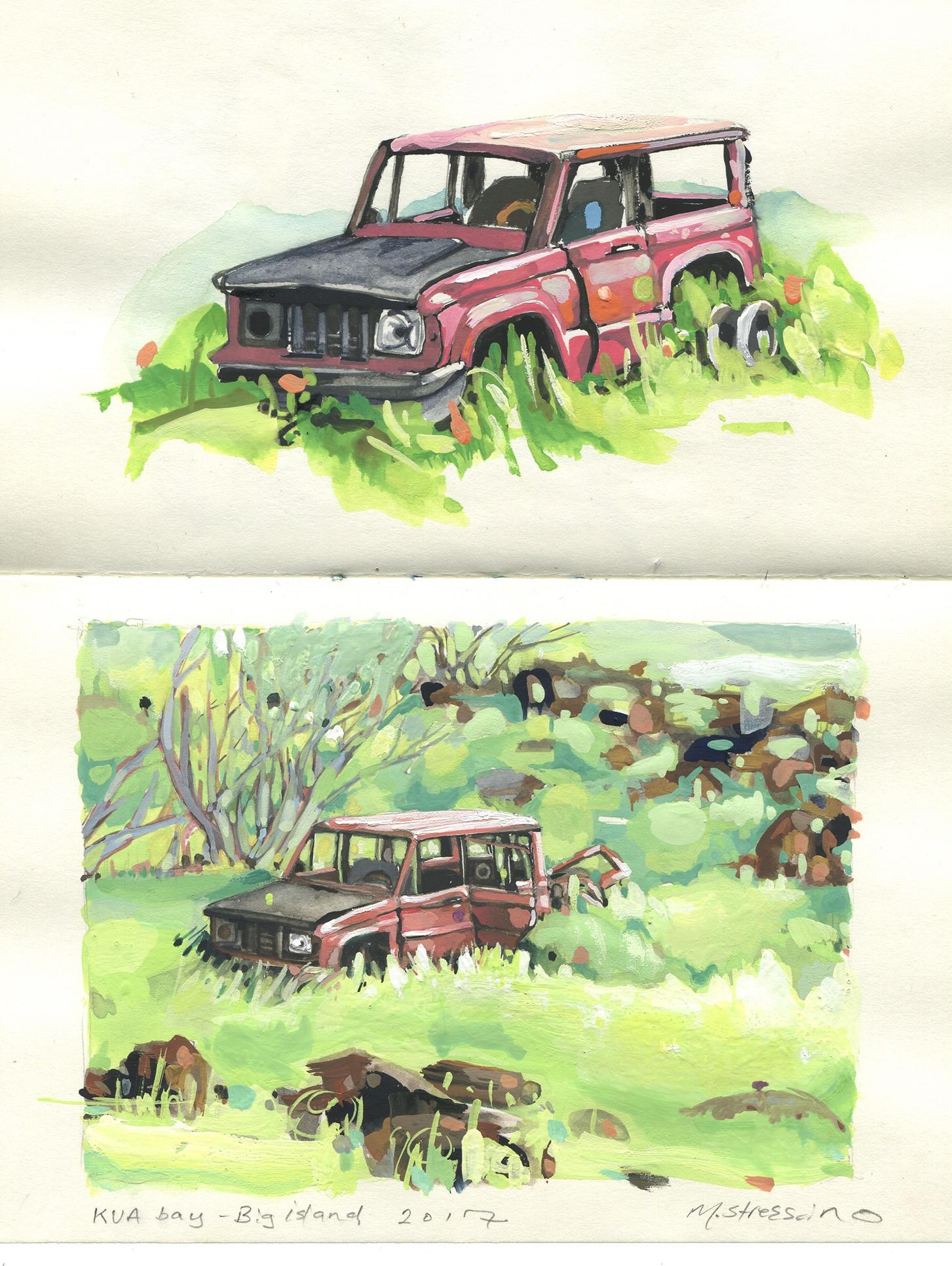 Abandoned jeep kua bay, big island - watercolor + gouache on moleskine