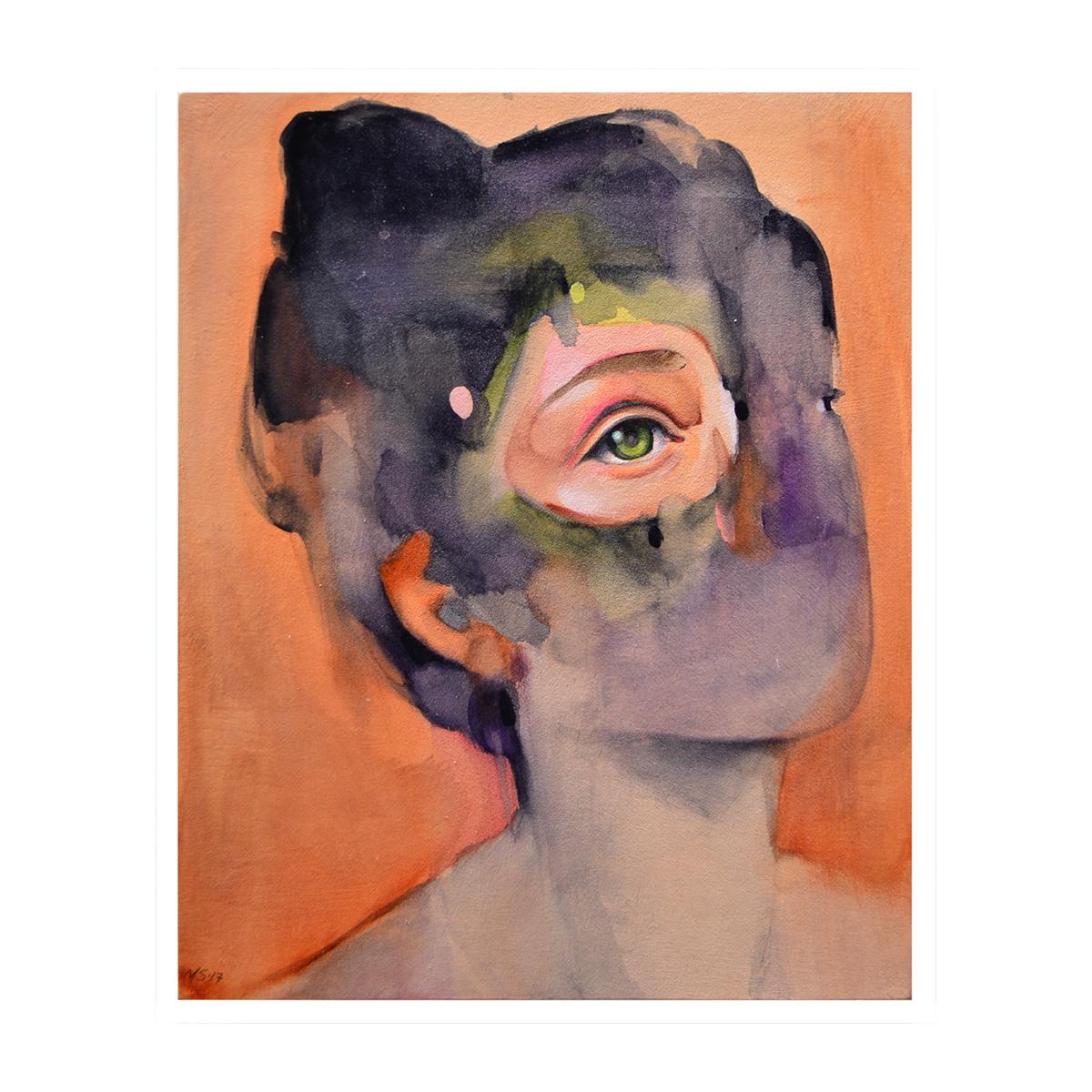 """orange #1 - watercolor + gouache on panel - 5""""x7"""""""