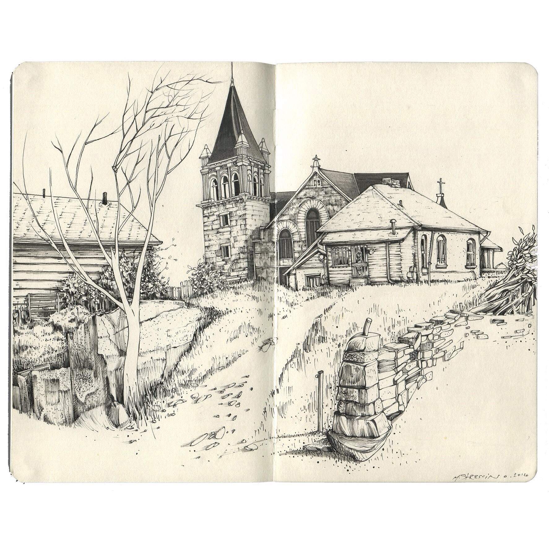 Church, north denver - ink in moleskine