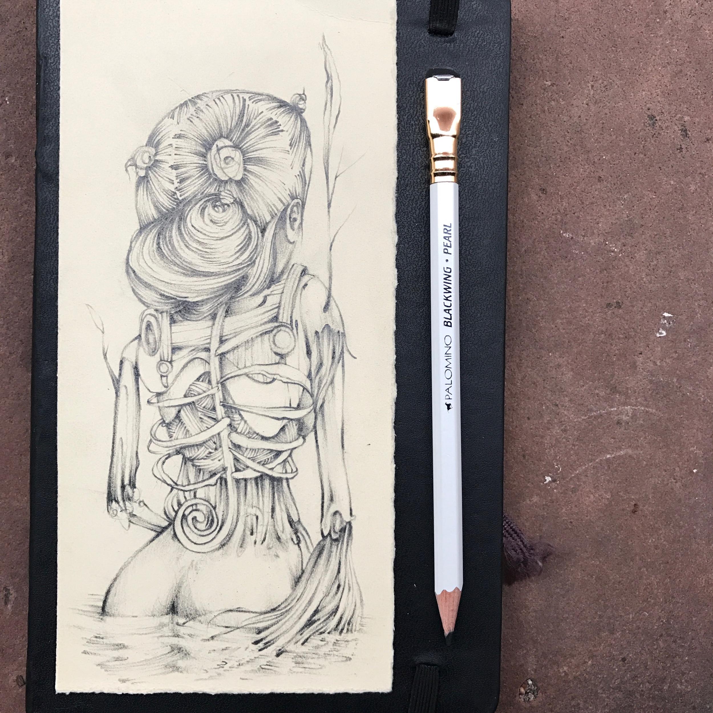 scratch paper sea glass - graphite on paper