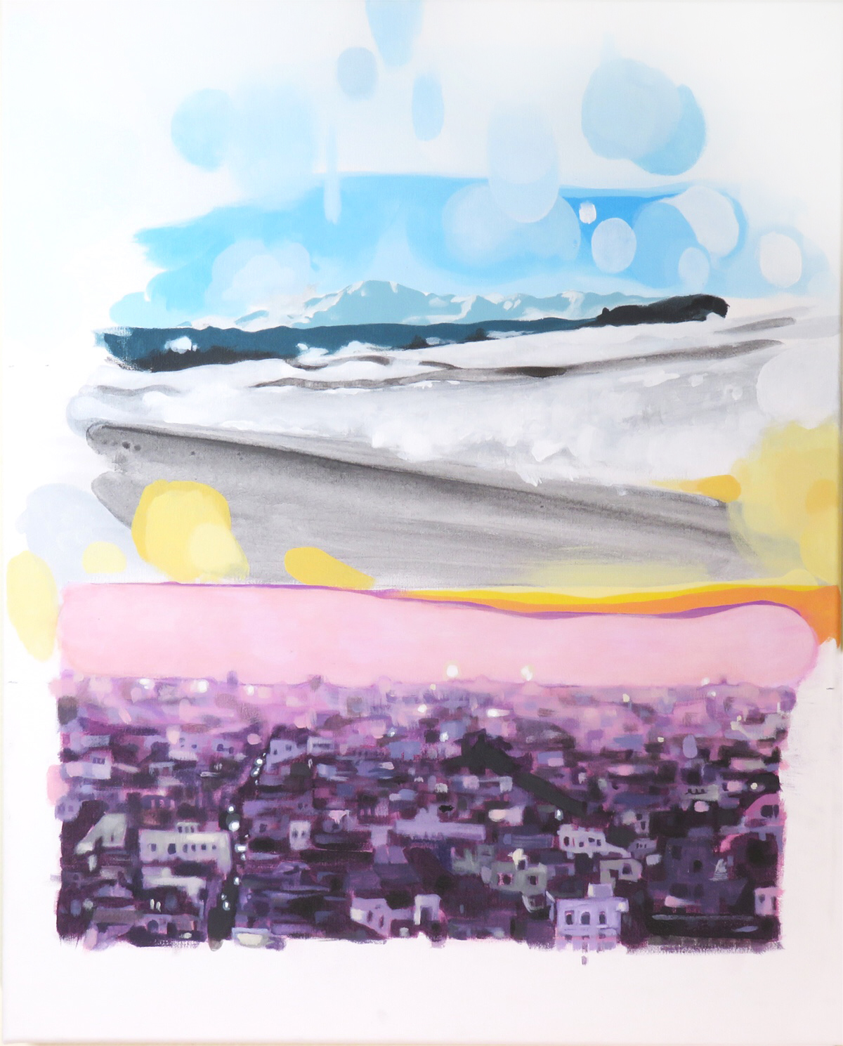 """Pikes peak from I-25 / Jodhpur from a hill - Acrylic painting on canvas - 16""""x20"""""""