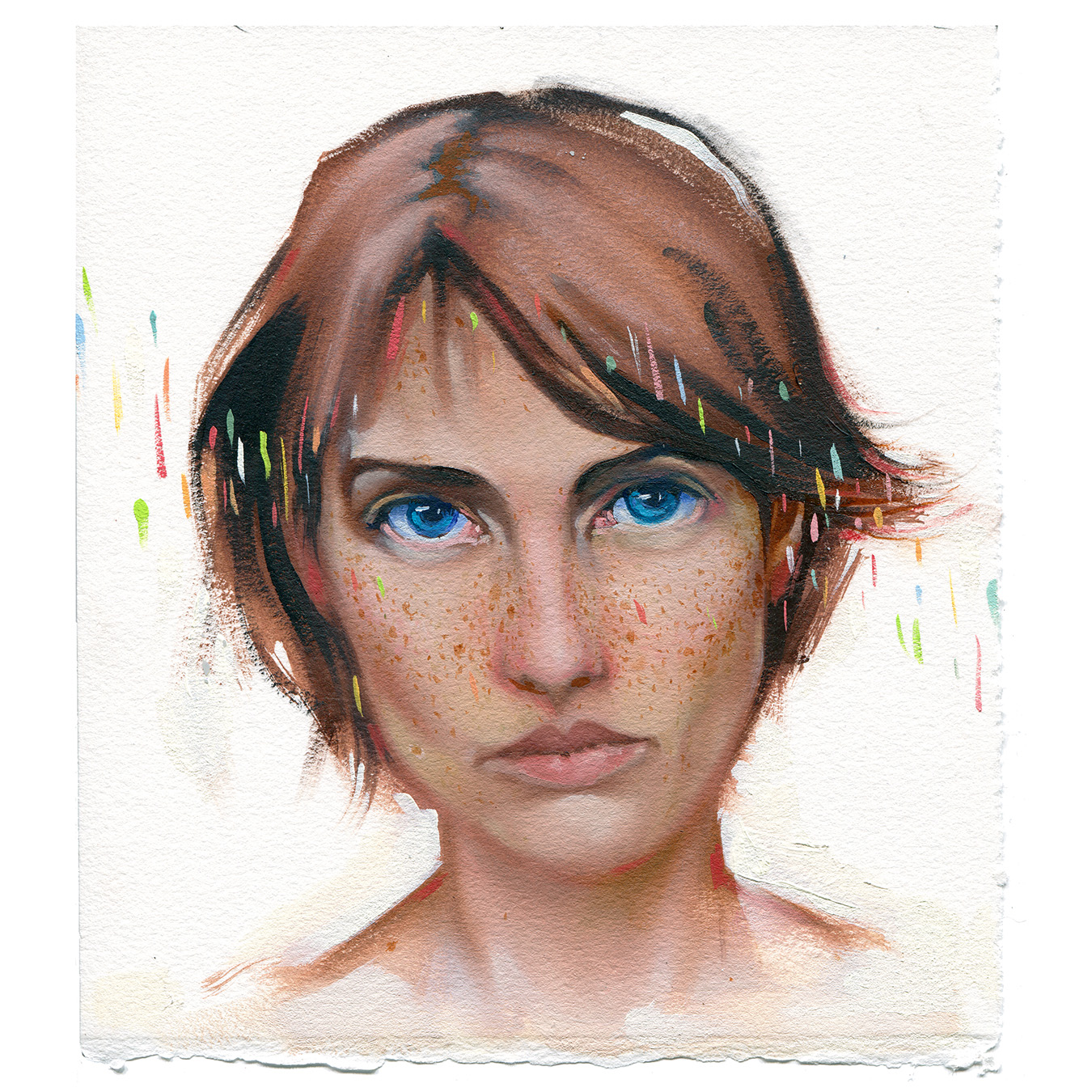 """freckle - oil on paper - 8""""x8"""""""