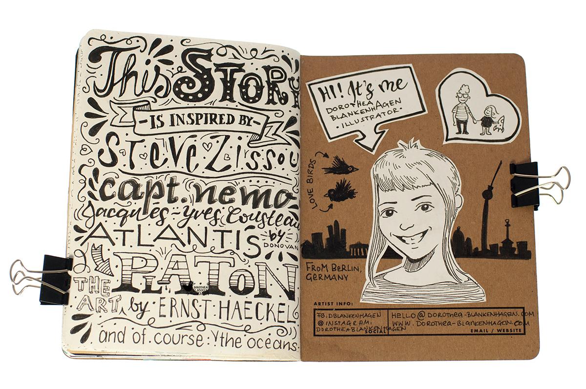 """Eine Vielzahl an Inspirationsquellen sind in dieses Buch geflossen. Auf dieser Seite liste ich die wichtigsten auf: Steve Zissou, Captain Nemo, Jacques-Yves Cousteau, Atlantis von Donovan (und natürlich) von Platon, die Kunst von Ernst Haeckel und natürlich die Ozeane. Die letzte Seite beschreibt mich als Autorin und Künstlerin. """"Hi! Ich bin es, Dorothea Blankenhagen, Illustratorin in Berlin. ich liebe meinen Sohn, meinen Mann und Vögel."""""""