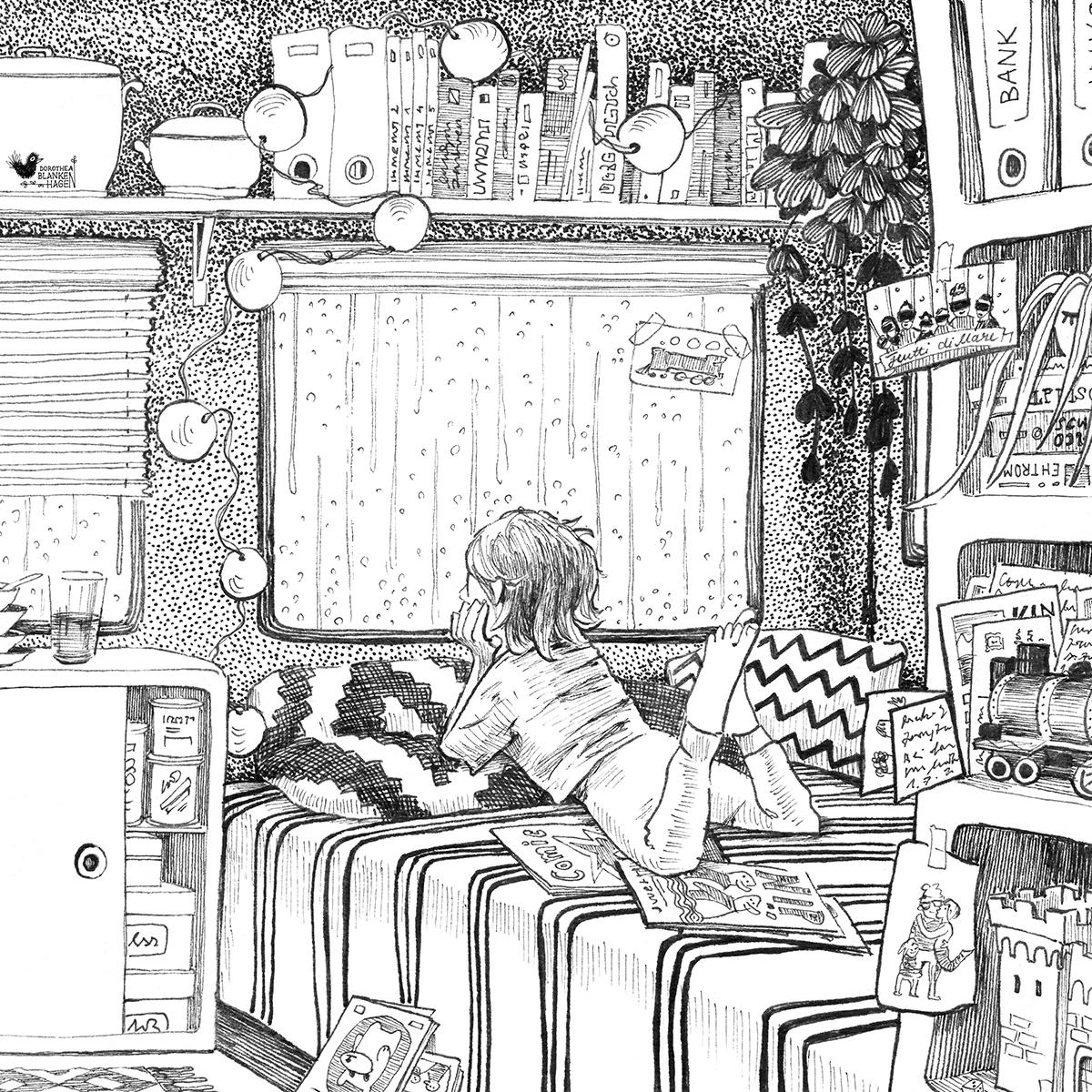 Es ist ein langweiliger Regentag und wir sitzen in unserem Van und träumen von neuen Abenteuern. Ich sitze außerhalb des Bildrandes neben meinem Mann Jürgen, der gerade an einem Kinderbuch arbeitet.