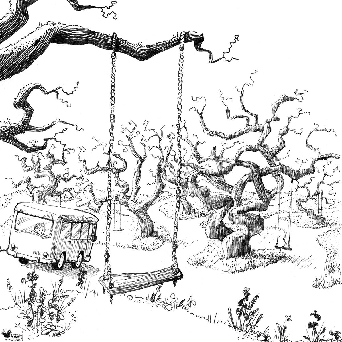 Da die Regentage lange waren, nehmen wir nun die Abkürzung durch das Labyrinth der schiefen Bäume. Abends sitzen alte Omis auf den Schaukeln und erzählen Märchen aus fernen Ländern.