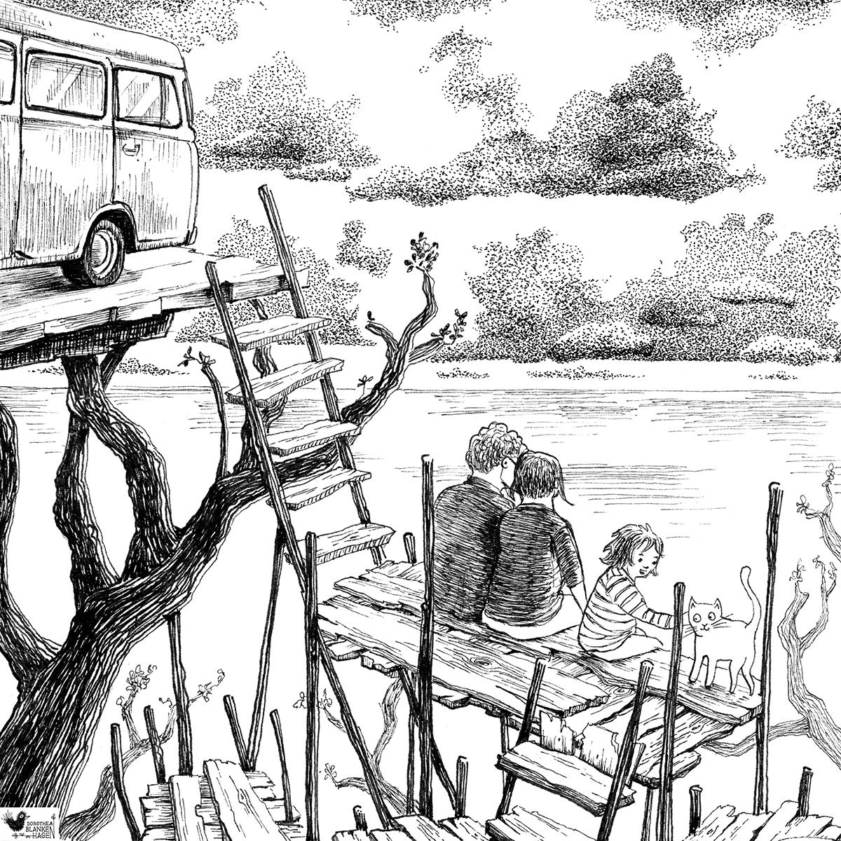 Unsere Abkürzung führt uns zu einem  atemberaubenden Ausblick. Hier müssen wir natürlich innehalten. Dieses Bild ist der Illustratorin Bille Weidenbach gewidmet.