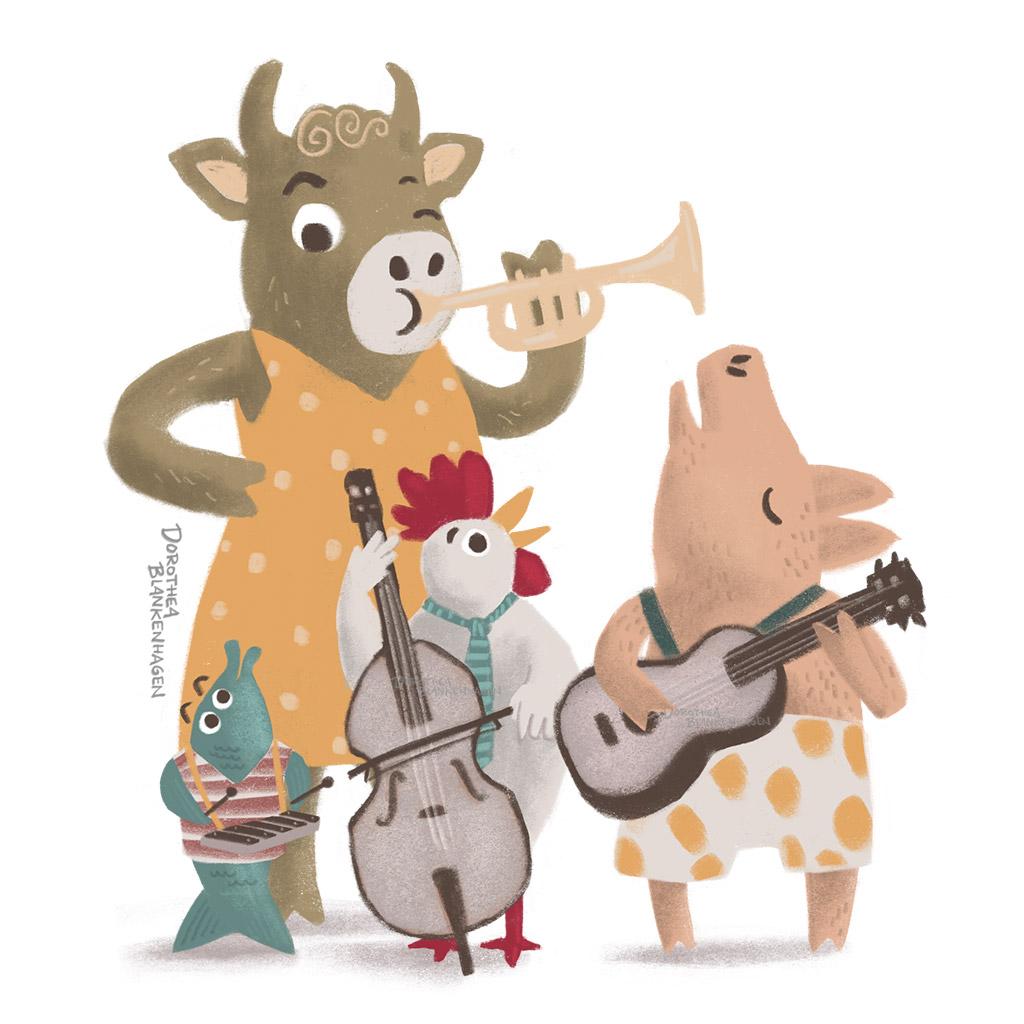 """Die Musikband """"Nutztier"""" (Kuh, Fisch, Huhn, Schwein)"""
