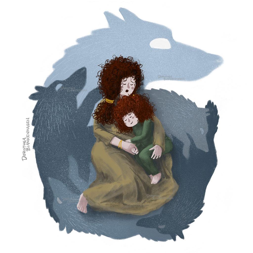 Freistehende Illustration zum Wolfslied