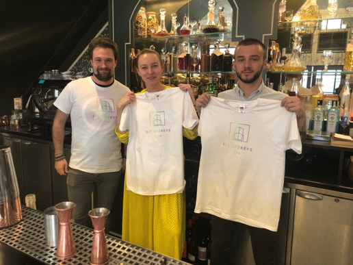 The Six Storeys team sporting their Pride T-shirts, the profits from which go directly to GiveOut.  Photo: Camm and Hooper