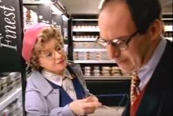 Fig 1. Dotty harrasses Loyd Grossman into buying a Finest Fruit de Mer