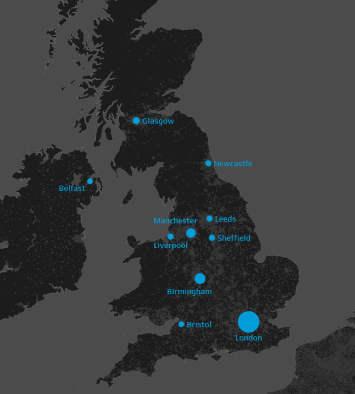 Fig 2. These 10 cities contain over ⅓ of the UK population