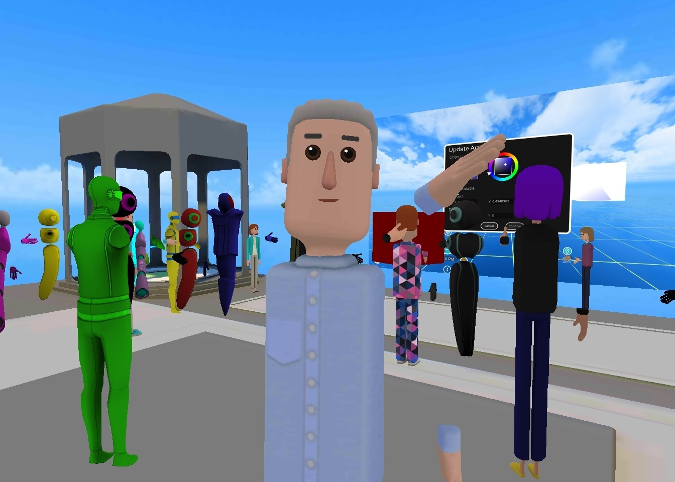 My dashing avatar at a well attended workshop in AltspaceVR