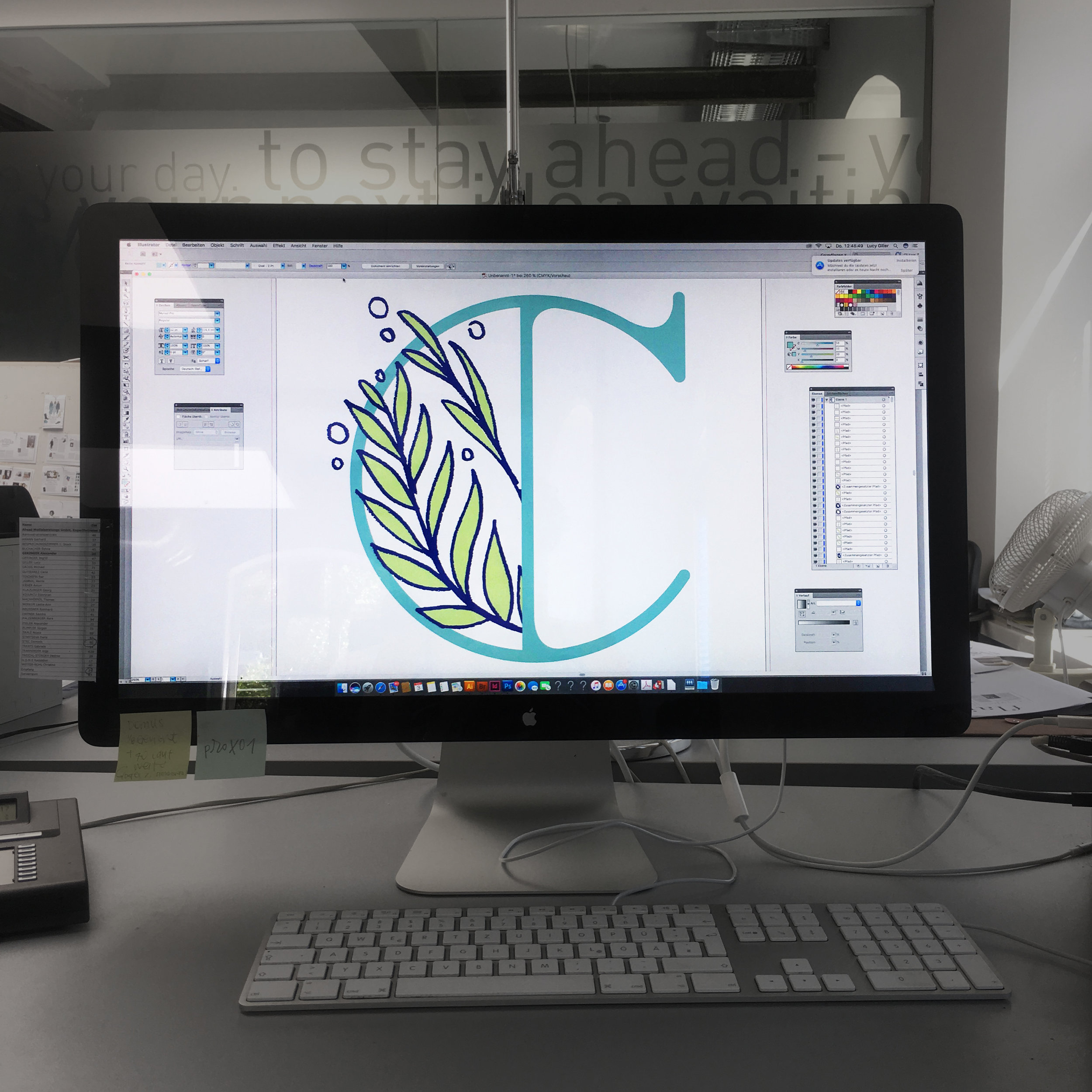 Letter C on a Computer