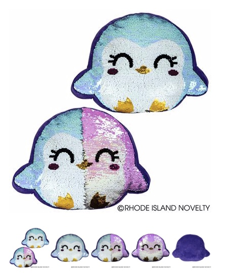 Cute Penguin Flip Sequin Pillow - © 2019 Rhode Island Novelty. All Rights Reserved.