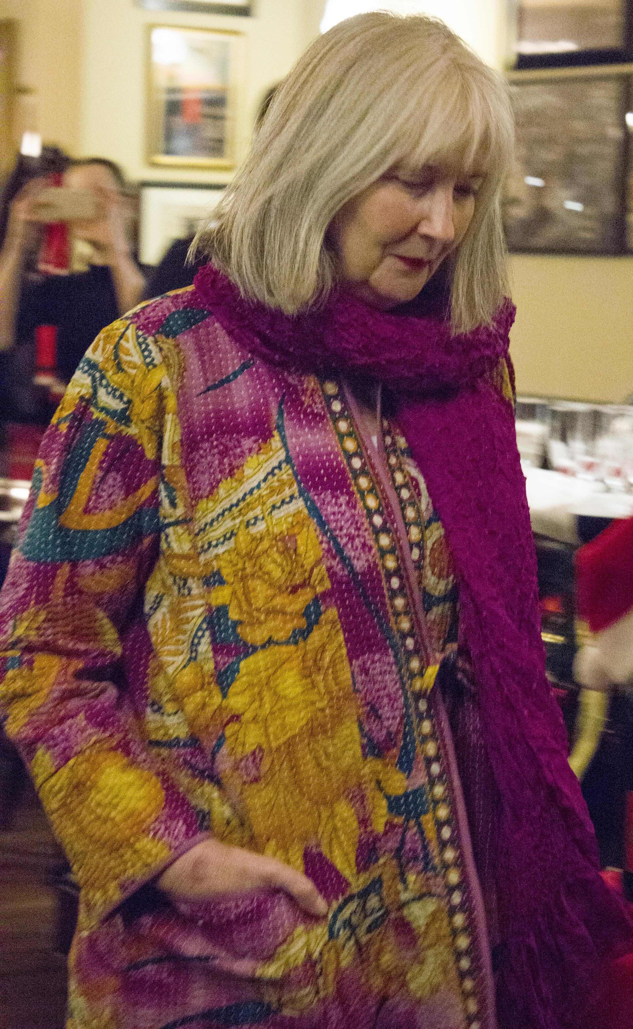 Stephanie wears Jaadu's classic kantha stitch robe
