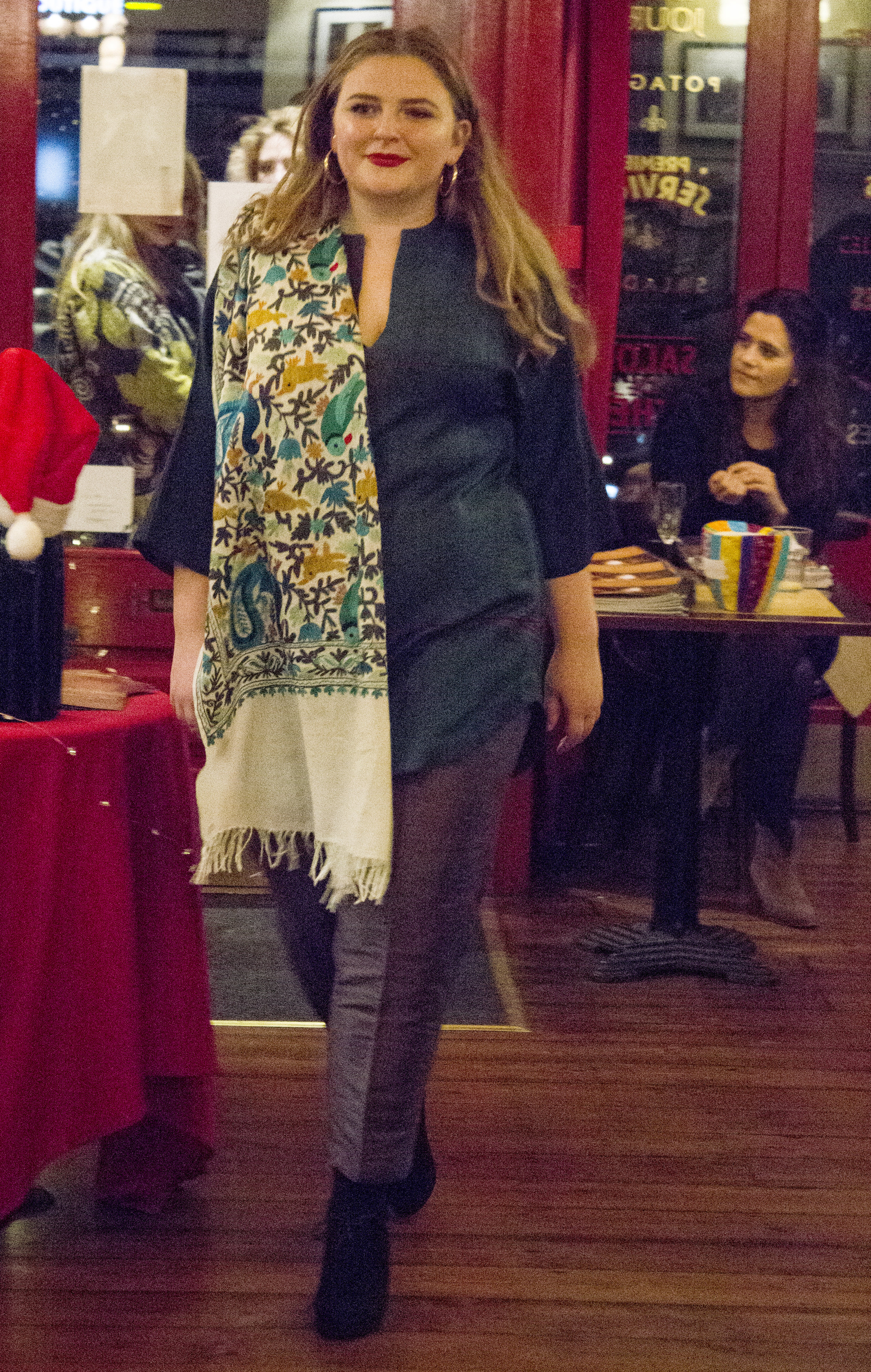 Lana wears the Jaadu silk dupion trousers, Raga wool tunic and embroidered wool shawl