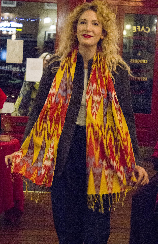 Amy wears the Jaadu jeans, Raga jacket and silk ikat scarf.