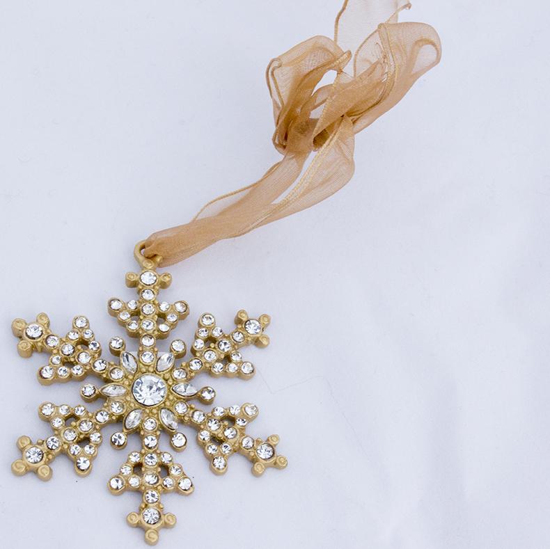Enamel and metal snowflake Christmas tree decoration