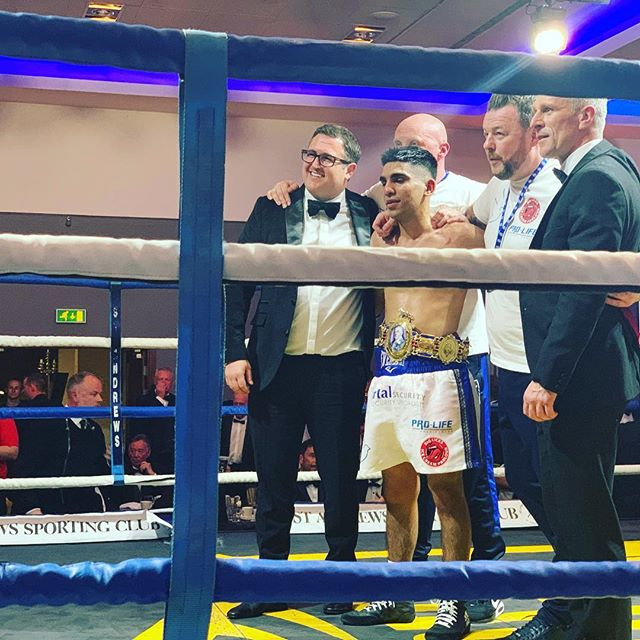 And he did it 🥊🥊 British Bantamweight Champion Kash Farooq #britishtitlefight #bantamweight #britishboxing  #SASC #Scotland