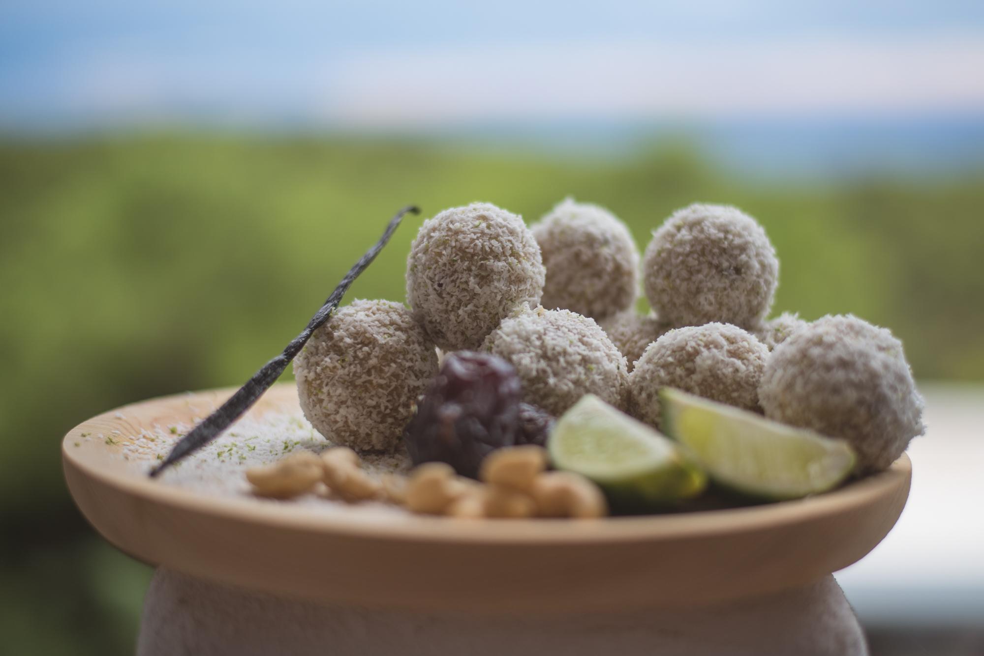 Lime, Cardamom & Coconut Energy Balls by our Ibiza Chef Rakhee