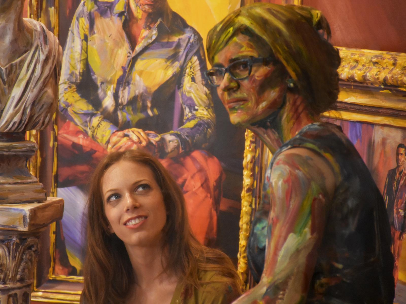 Alexa Meade with painted model Barbara Römer