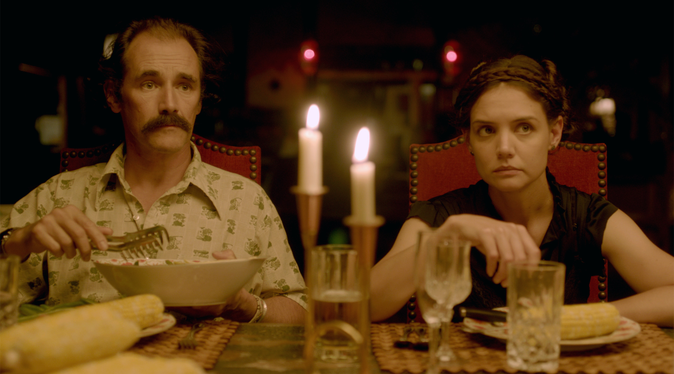 Mark Rylance (Stephen) and Katie Holmes (Alex)
