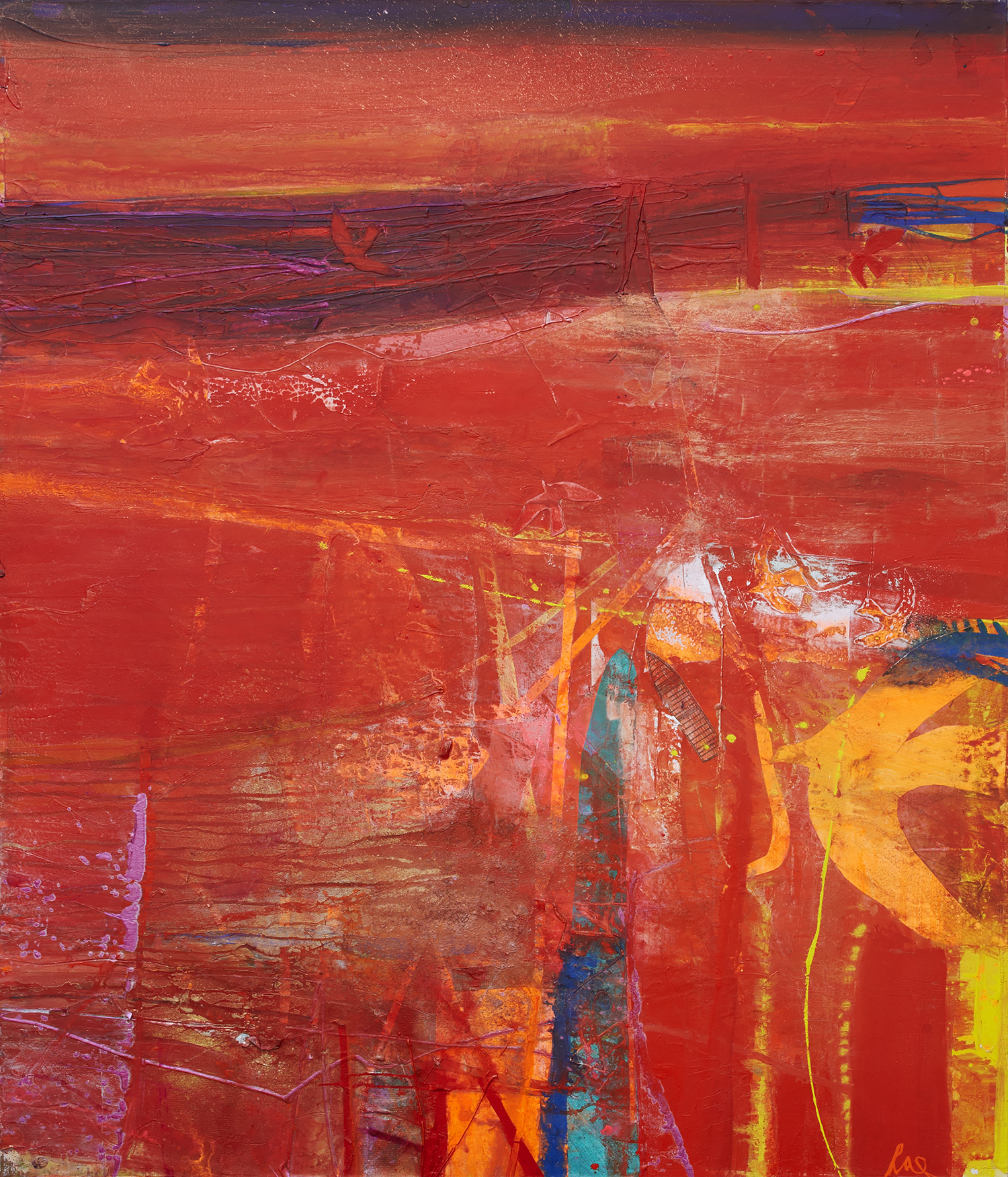 Above:   Red Ceide  ,mixed media on canvas,117 x 100 cm.