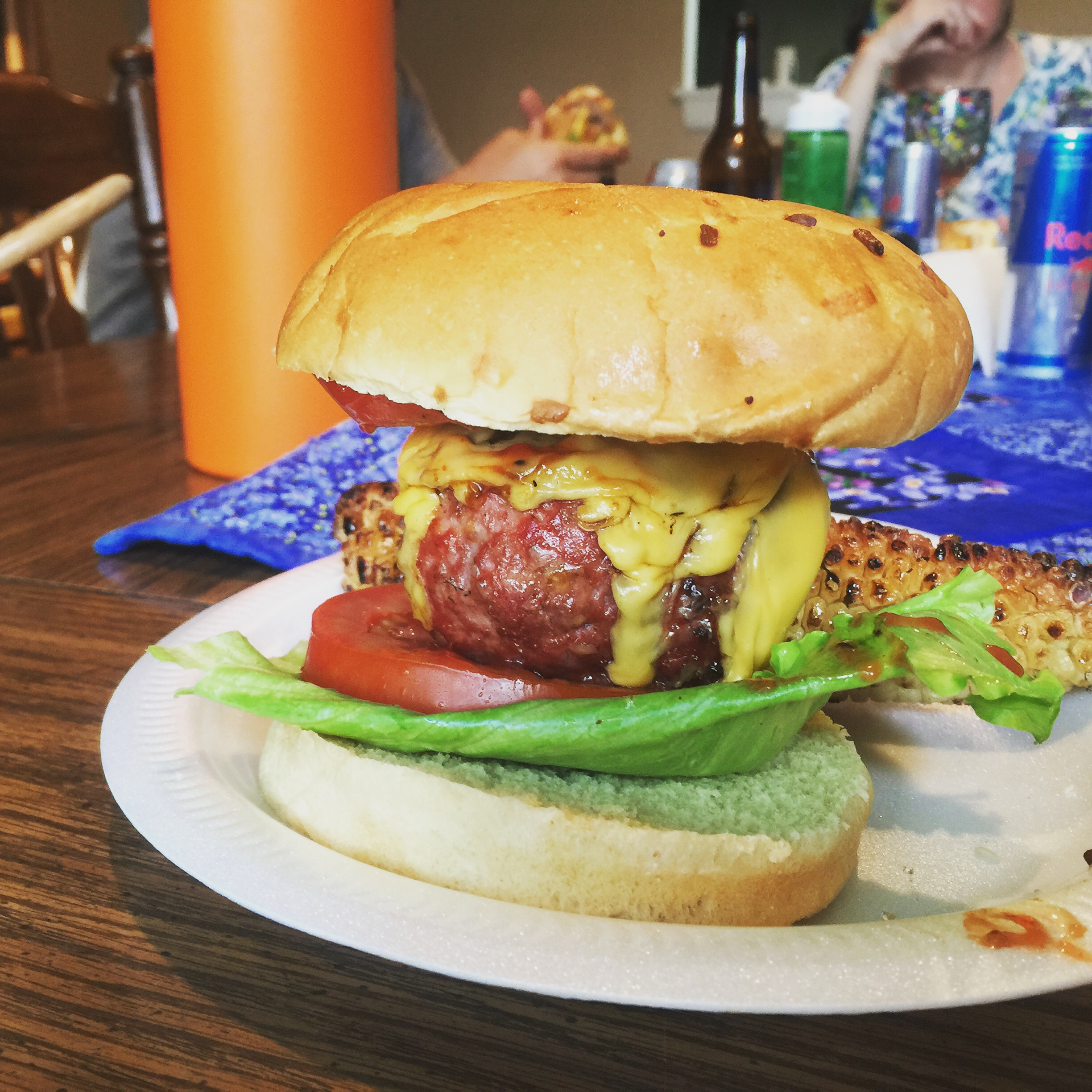 The beerlicious baseball burger...need I say more? Ok, how about tarragon grilled corn hiding in the back ;)