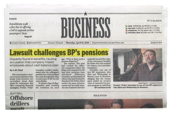 Houston Chronicle - Lawsuit Challenges BP's Pensions