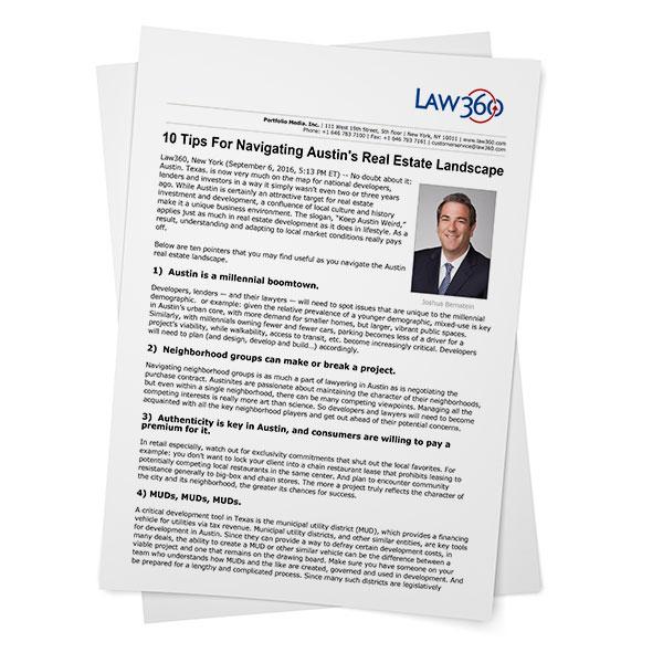 Law 360 - 10 Tips for Navigating Austin's Real Estate Landscape