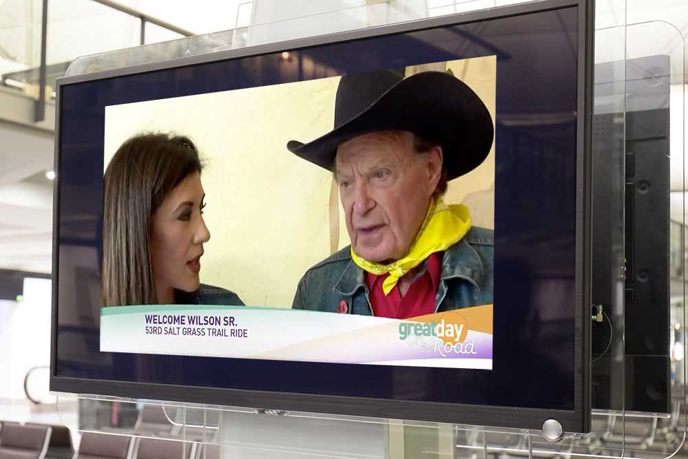 KHOU-TV Houston - Great Day Houston and Welcome Wilson Sr. on his 53rd Trail RideInterview begins at 1:05 min.Watch the interview.