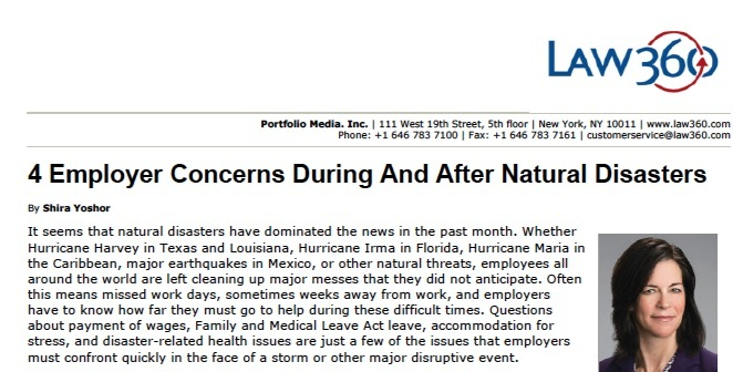 Employer Concerns During and After Natural Disasters - Law360 Commentary