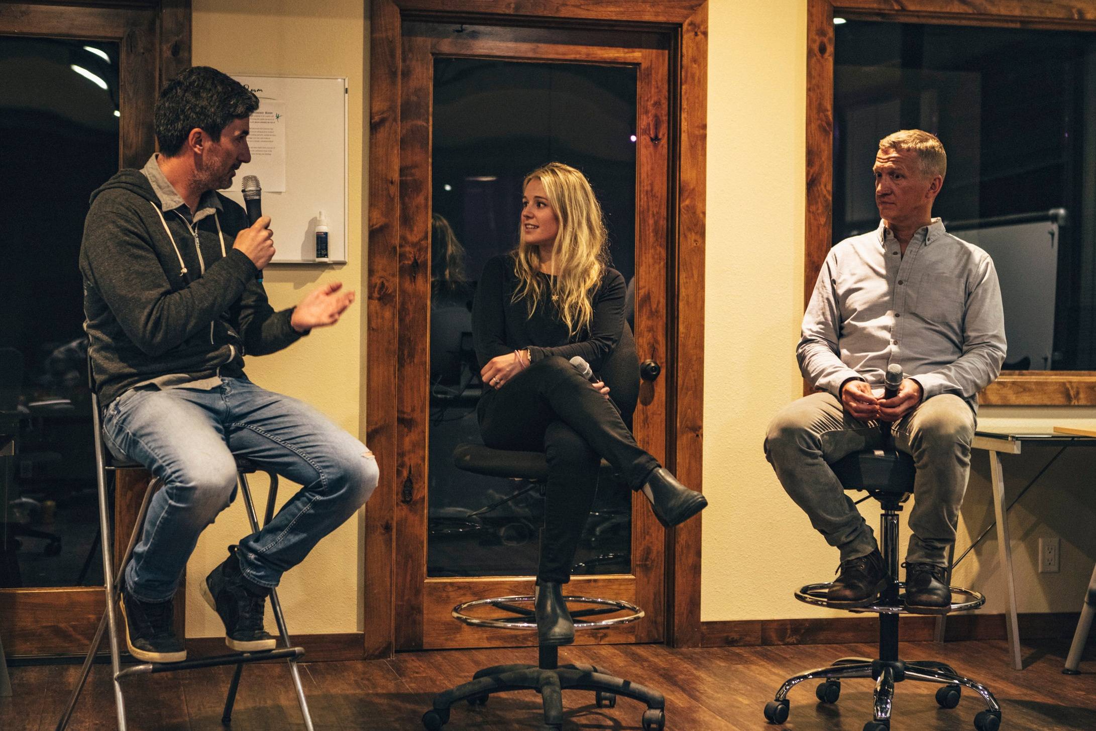 SummitX Ski and Leadership Retreat - Jackson, WY - Chatting with Dirk Collins and Caroline Gleich.READ MORE