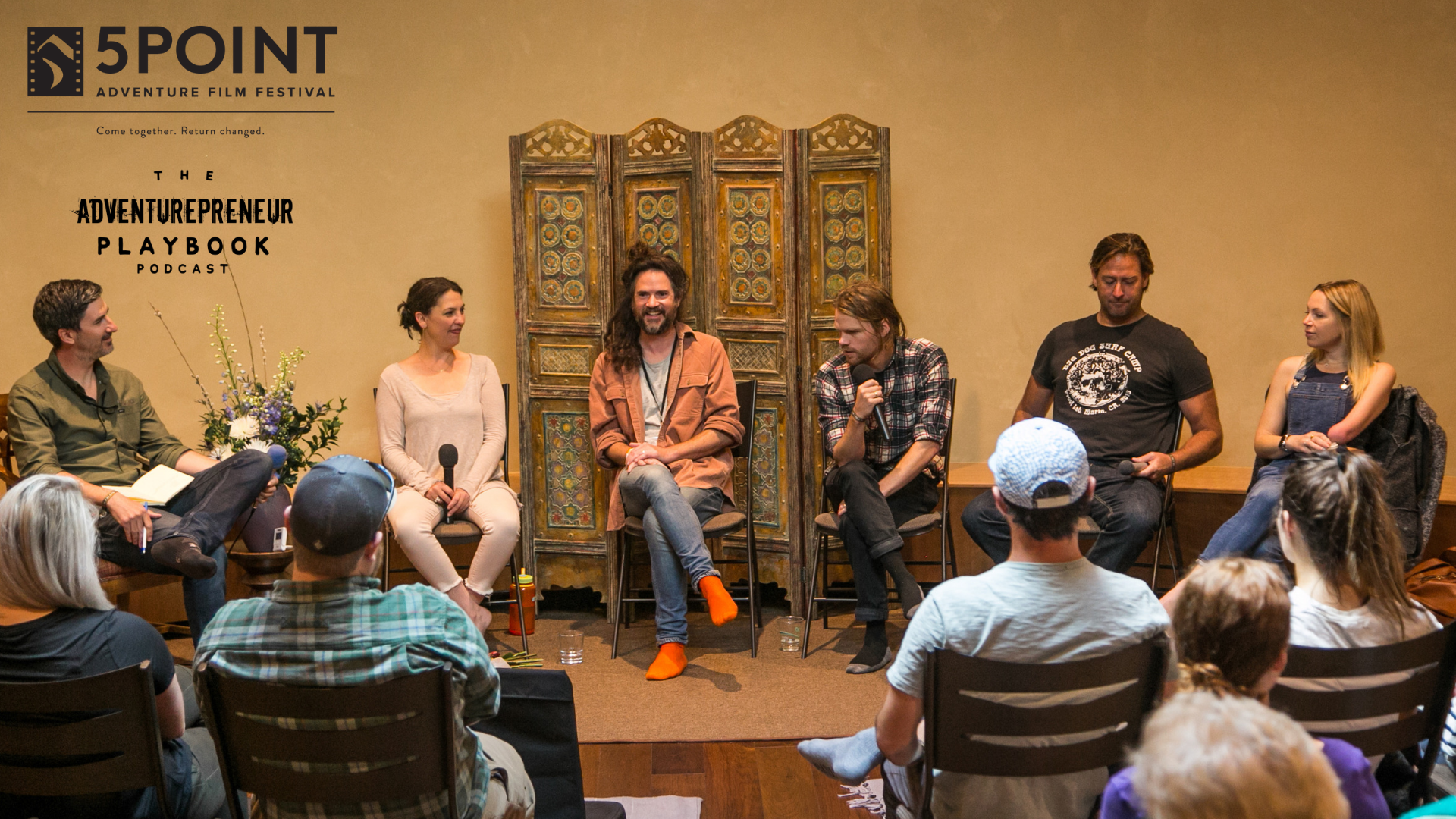 Panel discussion at  True Nature Healing Arts  in Carbondale, CO about the 5points (or core values) of the  5point Adventure Film Festival . Left to right:  Regna Jones ,  Cameron Ford ,  Charlie Turnbull ,  Ian Glover  and  Sarah Herron . (Photo:  Frank Scotti)