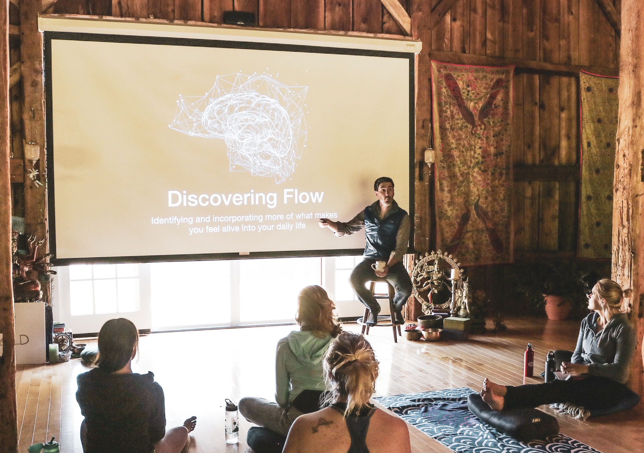 Leading a workshop on flow at  Outwild Northeast Women's Retreat