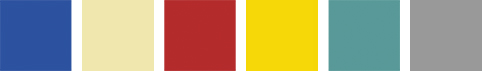 Blue, cream red, yellow, aqua, grey
