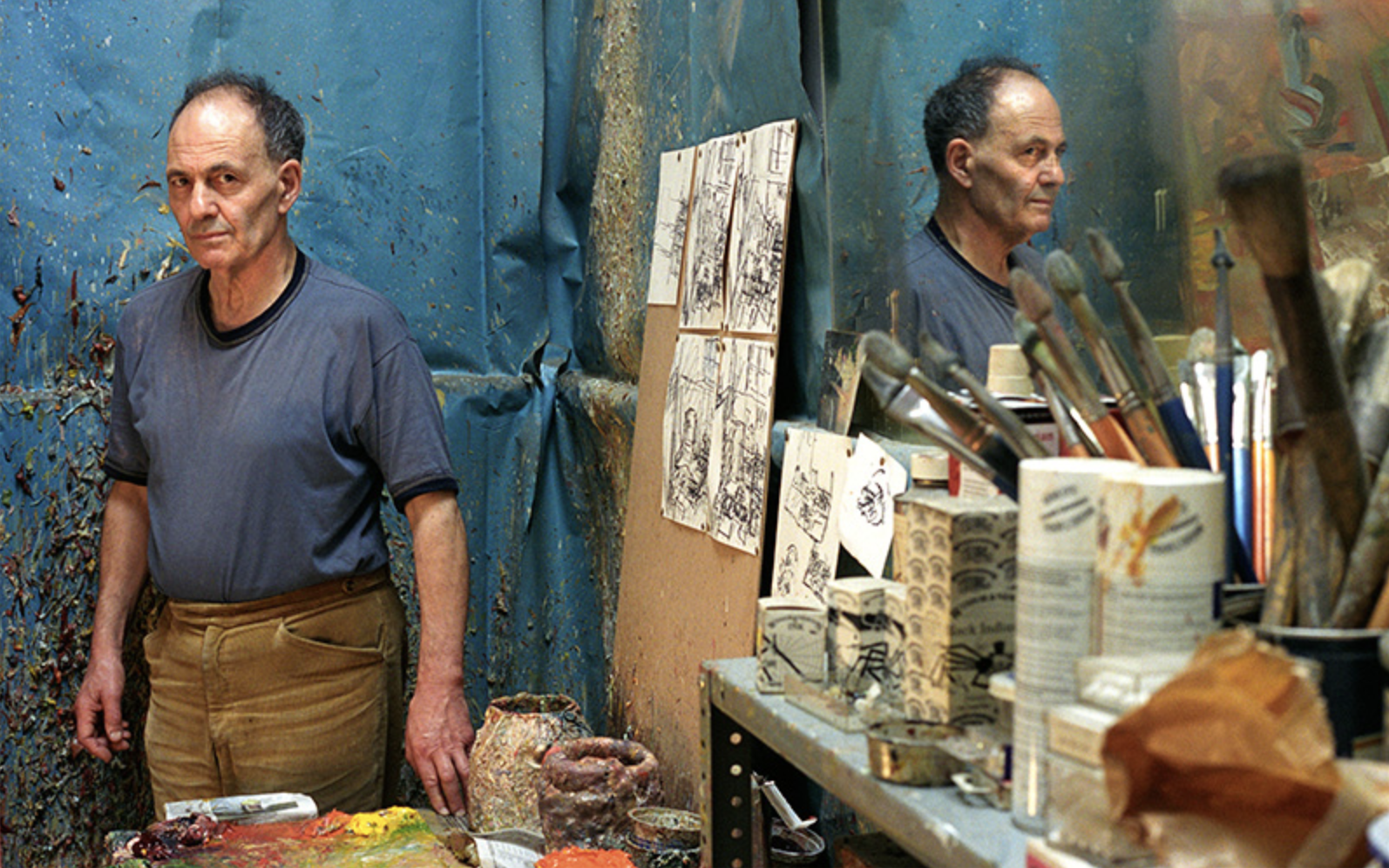 The artist Frank Auerbach in his studio.