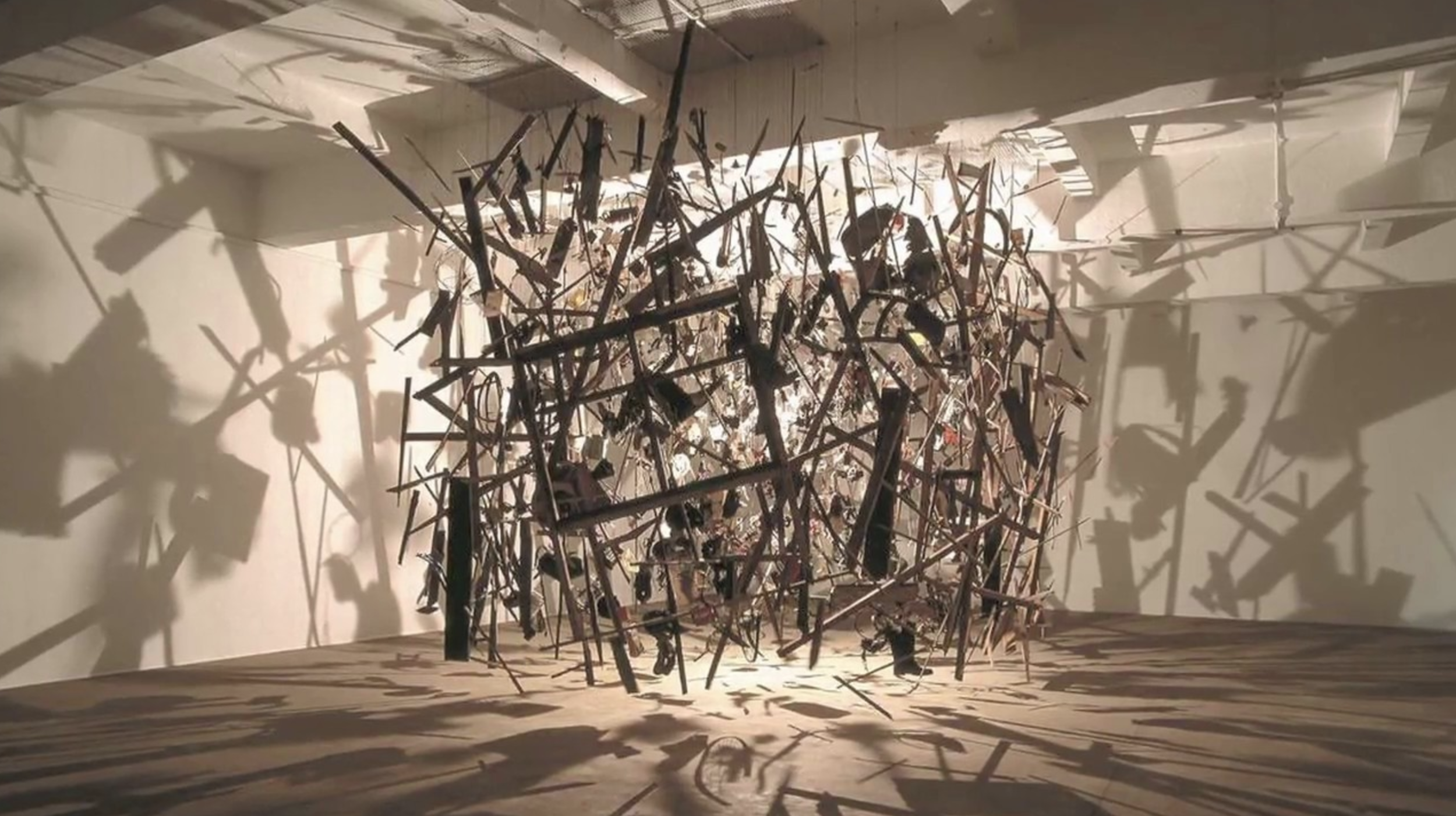 Cornelia Parker's Cold Dark Matter, an exploded shed