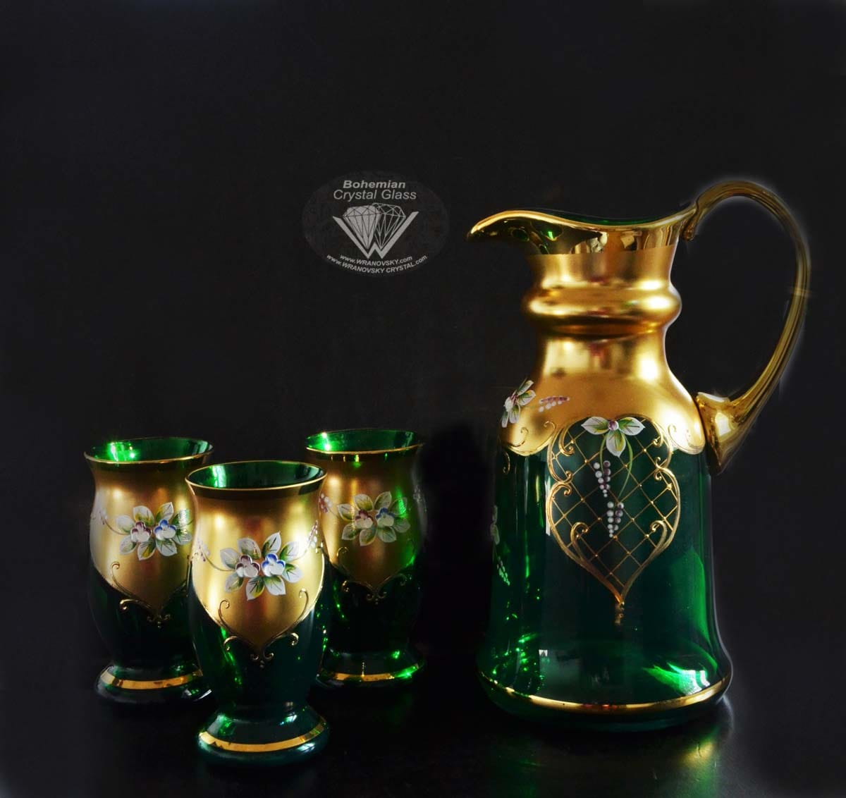 Crystal set of 6 glasses and a jug