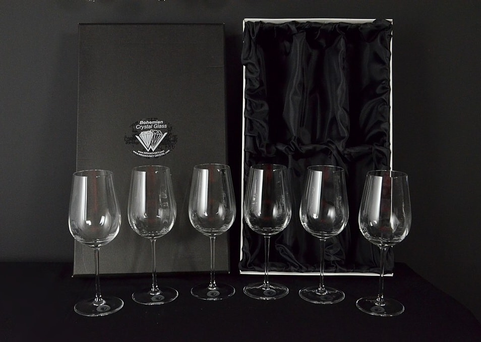 Decorative glass of white wine - 6 pieces