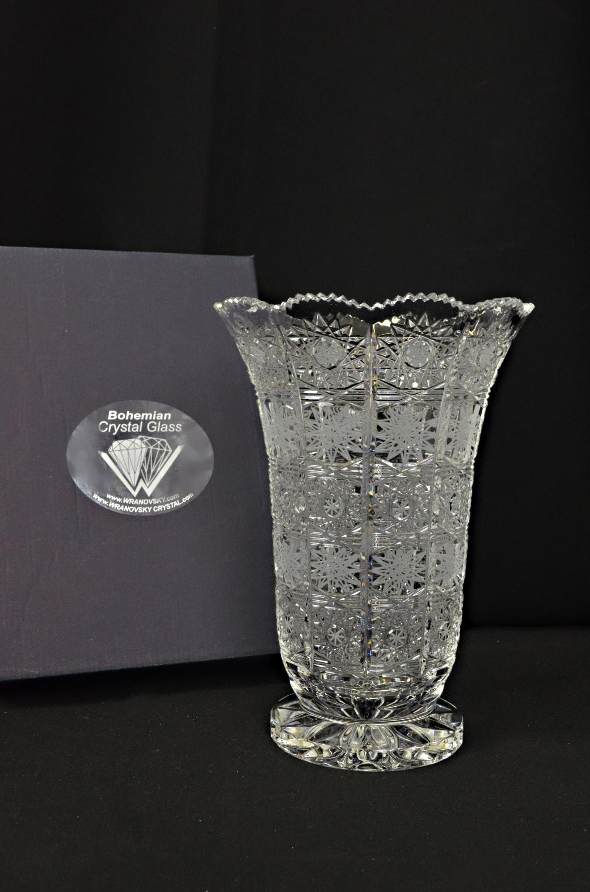 Decorative cut crystal vase