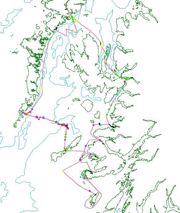 Route surveyed during the monitoring expedition