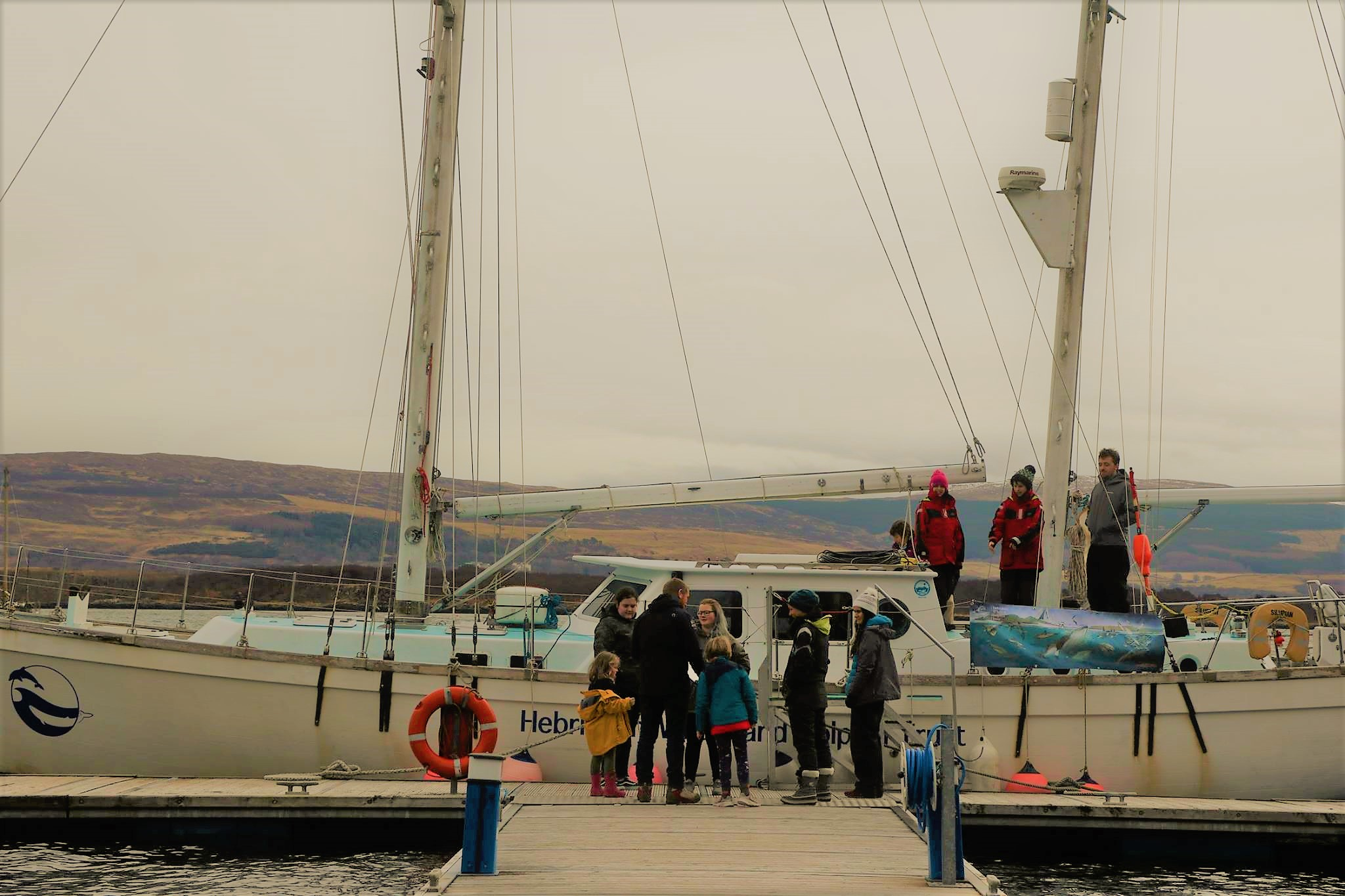 Brodie greets visitors to  Silurian  for the Tobermory Open Boat