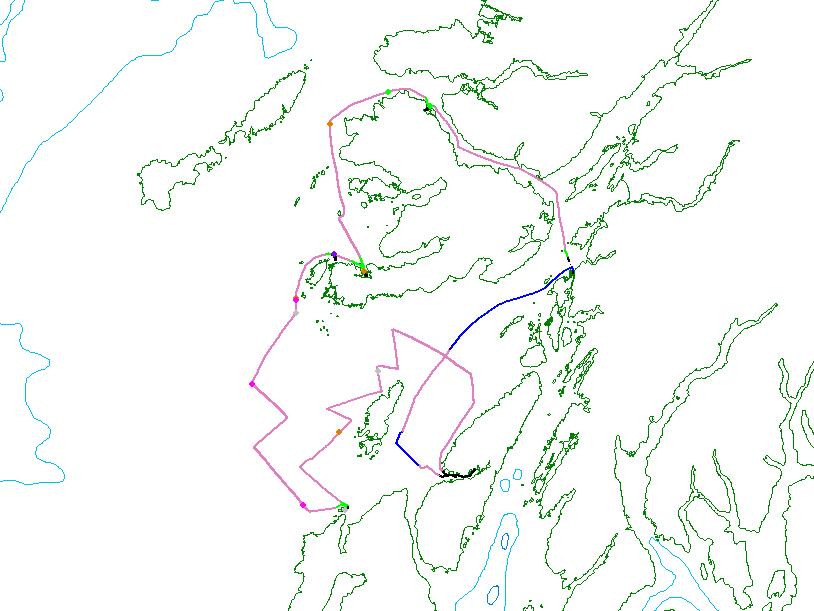 The track lines surveyed and anchorages made during HWDT 3