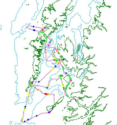 A map showing the 475 miles surveyed during HWDT06 03/07-14/07